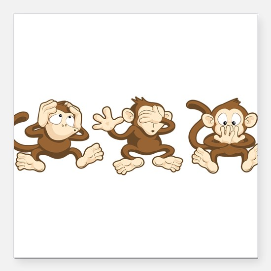 "No Evil Monkey Square Car Magnet 3"" x 3"""