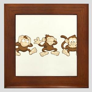 No Evil Monkey Framed Tile