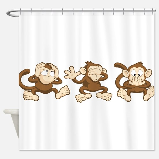 No Evil Monkey Shower Curtain