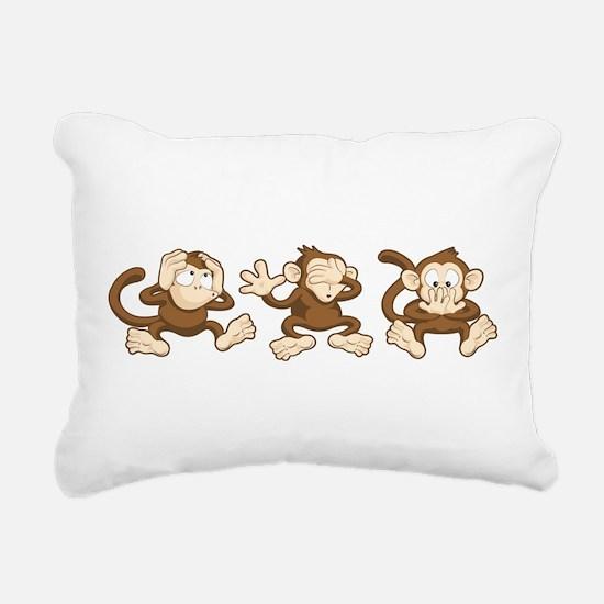 No Evil Monkey Rectangular Canvas Pillow