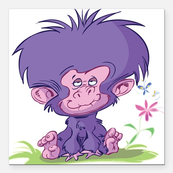 "Purple Cartoon Monkey Square Car Magnet 3"" x 3"""