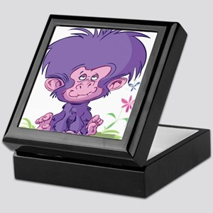 Purple Cartoon Monkey Keepsake Box