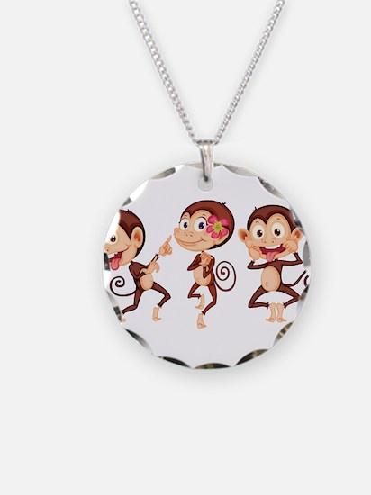 Trio of Monkeys Necklace