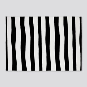 Funny black and white stripes 5'x7'Area Rug
