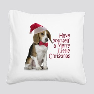 Santa Beagle Square Canvas Pillow