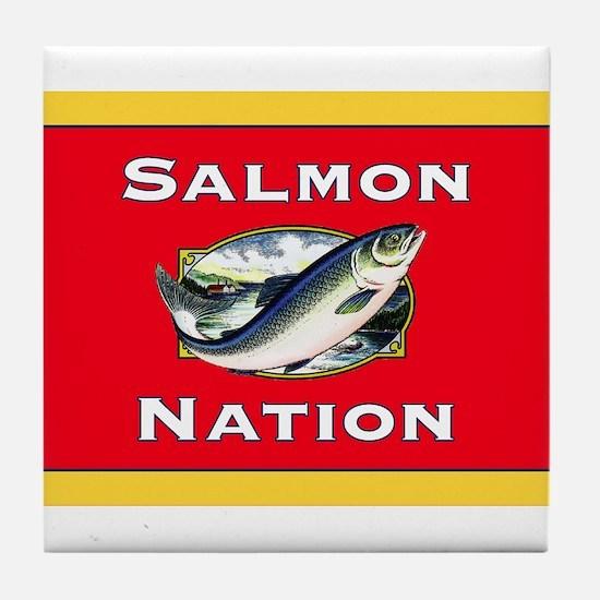 salmon nation flag Tile Coaster