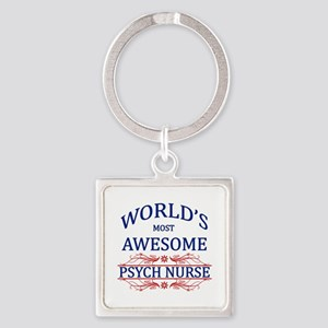 World's Most Awesome Psych Nurse Square Keychain