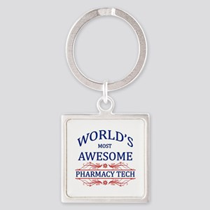 World's Most Awesome Pharmacy Tech Square Keychain