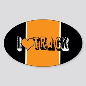 I heart (love) track Sticker (Oval)