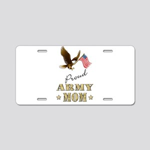 Proud Army Mom - Eagle Flag Aluminum License Plate