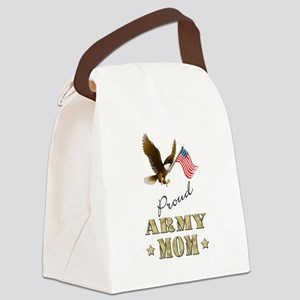 Proud Army Mom - Eagle Flag Canvas Lunch Bag