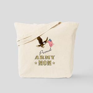 Proud Army Mom - Eagle Flag Tote Bag