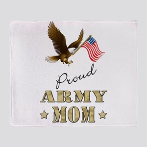 Proud Army Mom - Eagle Flag Throw Blanket