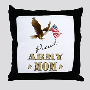 Proud Army Mom - Eagle Flag Throw Pillow