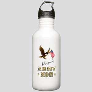 Proud Army Mom - Eagle Flag Water Bottle
