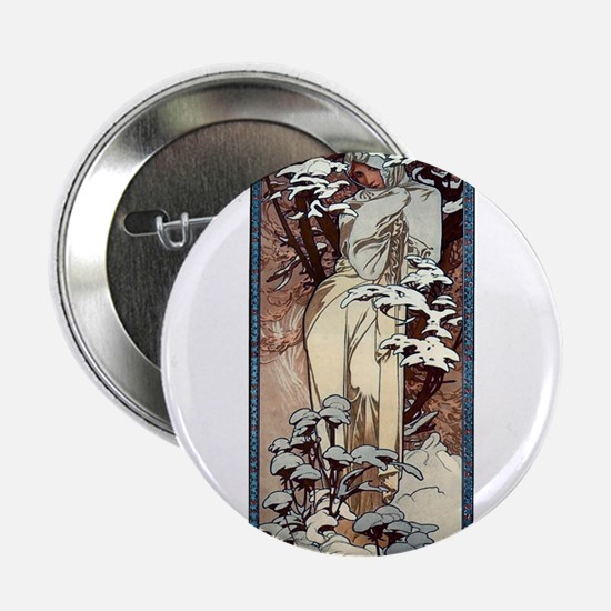 "Mucha Winter Art Nouveau 2.25"" Button"