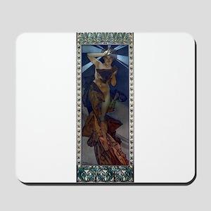 Mucha morning star art nouveau woman Mousepad