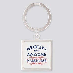 World's Most Awesome Male Nurse Square Keychain