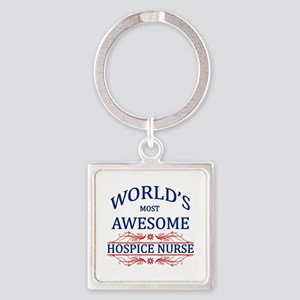 World's Most Awesome Hospice Nurse Square Keychain