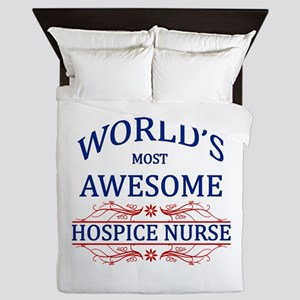 World's Most Awesome Hospice Nurse Queen Duvet