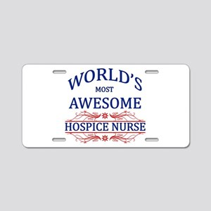 World's Most Awesome Hospice Nurse Aluminum Licens