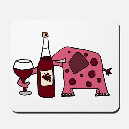 Pink Elephant Drinking Wine Mousepad