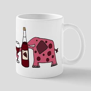 Pink Elephant Drinking Wine Mug