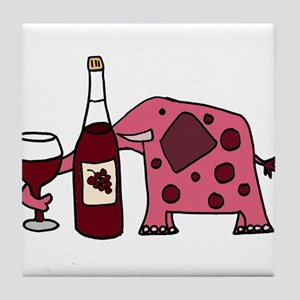 Pink Elephant Drinking Wine Tile Coaster