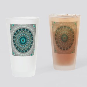 Blue Earth Mandala Drinking Glass