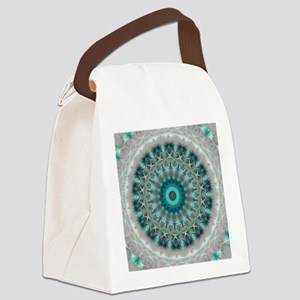 Blue Earth Mandala Canvas Lunch Bag