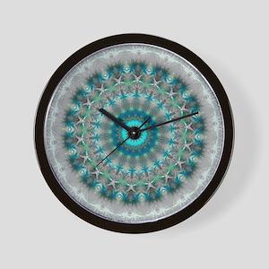 Blue Earth Mandala Wall Clock