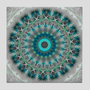 Blue Earth Mandala Tile Coaster