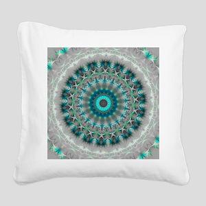 Blue Earth Mandala Square Canvas Pillow