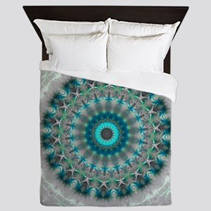 Blue Earth Mandala Queen Duvet
