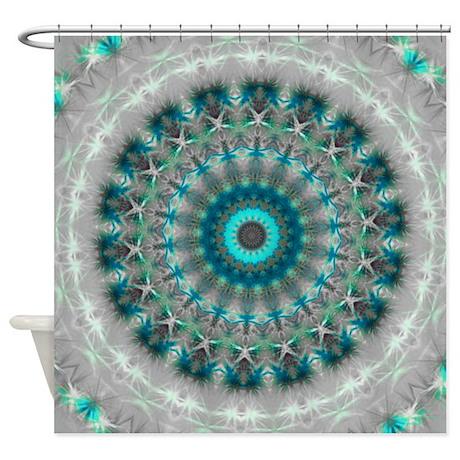 Blue Earth Mandala Shower Curtain