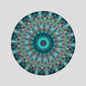 "Blue Earth Mandala 3.5"" Button"