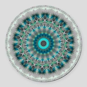 Blue Earth Mandala Round Car Magnet