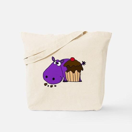 Hippo Eating Cupcake Tote Bag