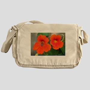 Nasturtium flowers in bloom Messenger Bag