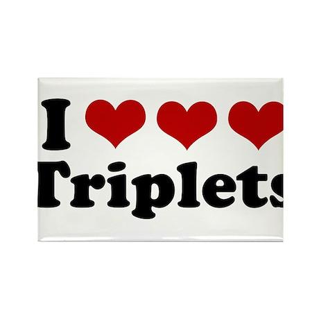 I Love Triplets Rectangle Magnet