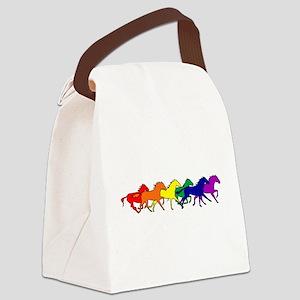 horses running rainbow Canvas Lunch Bag