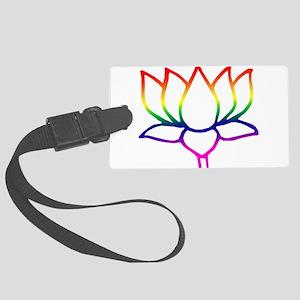 lotus outline Large Luggage Tag