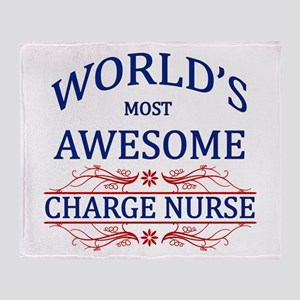 World's Most Awesome Charge Nurse Throw Blanket