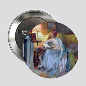 """Lady reading by lamp 2.25"""" Button"""