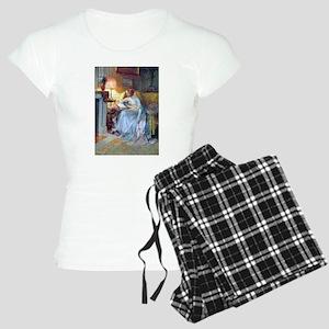 Lady reading by lamp Pajamas