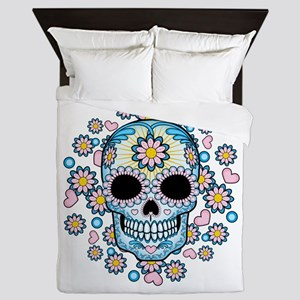 Colorful Sugar Skull Queen Duvet