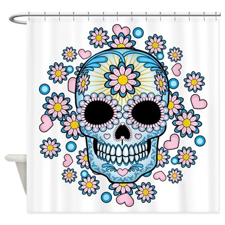 Colorful Sugar Skull Shower Curtain By Bonesofsociety