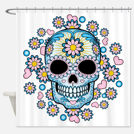 Colorful Sugar Skull Shower Curtain