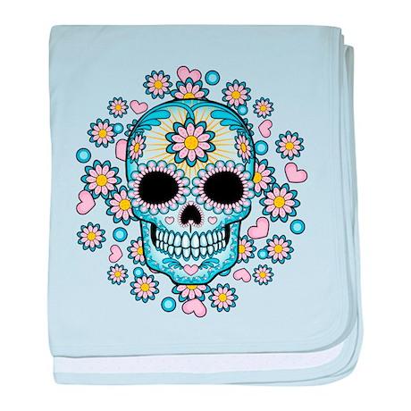 Colorful Sugar Skull baby blanket