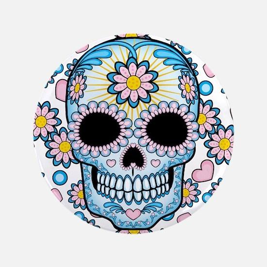 """Colorful Sugar Skull 3.5"""" Button"""